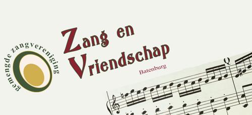 logo van zang en vriendschap, gemengde zangvereniging in batenburg